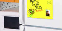 "Piece of yellow paper taped to ta refrigerator door saying: ""Keep out! Diet in progress"""
