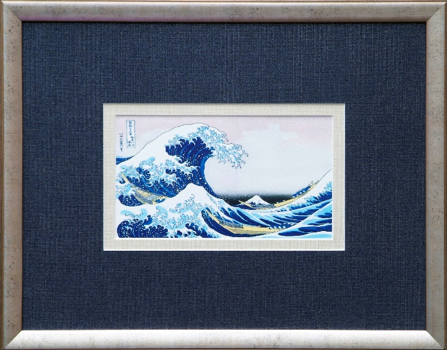 Great Wave of Kanagawa by Hokusai, featuring Moorman Fabrics Shimmer Wovans 7315 Blue Galaxy