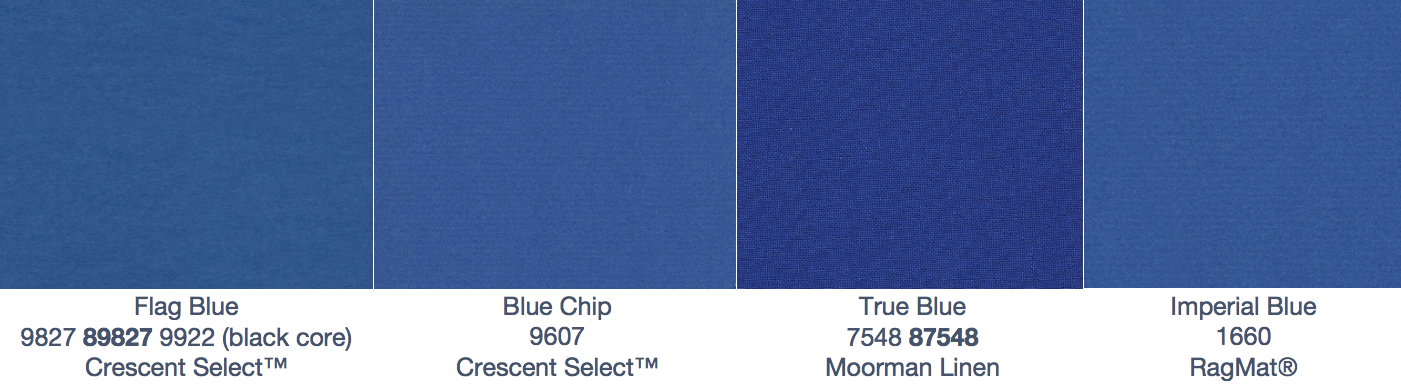 Crescent Swatches: Flag Blue, Blue Chip, True Blue and Imperial Blue